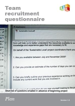 Team recruitment questionnaire